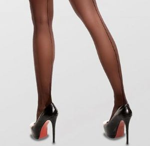 Glamory Tights with Seams in Black Plus Sizes up to 28